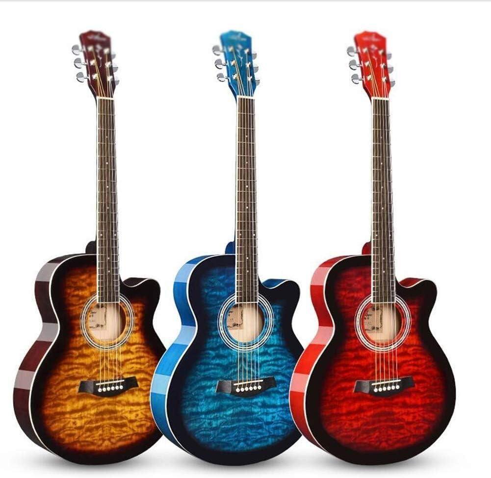 Guitarra eléctrica Guitarra acústica Dreadnought guitarra clásica brillante 6 cuerdas Guitarra de madera de abeto Principiante Kit con el caso de Bolsa, sintonizador, 2 Selecciones de tono exquisito d