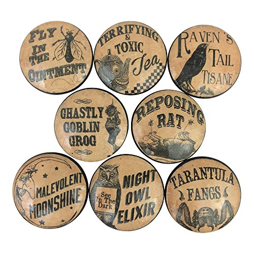 Set of 8 Potions and Spells Wood Cabinet Knobs]()