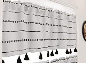YoKii Boho Tassels Valances for Window 52''W x 18''L Room Darkening Ivory Striped Curtain Valance Window Treatments for Kitchen Bathroom Living Room Decors (W52 x L18, Ivory)