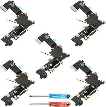 MMOBIEL Paquete de 5 Repuesto Conector Dock de Carga Compatible con iPhone 5S (Negro), Incl. 2 X Destornilladores