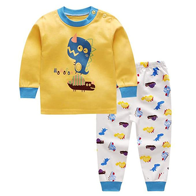 Deylaying Unisexo Bebé Chicas Chicos Algodón 2 piezas Conjunto de pijamas Ropa de noche Niños Niñito