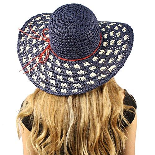 Cool Soft Crochet USA Flag Colors Packable Floppy Wide Brim Summer Sun Hat Navy