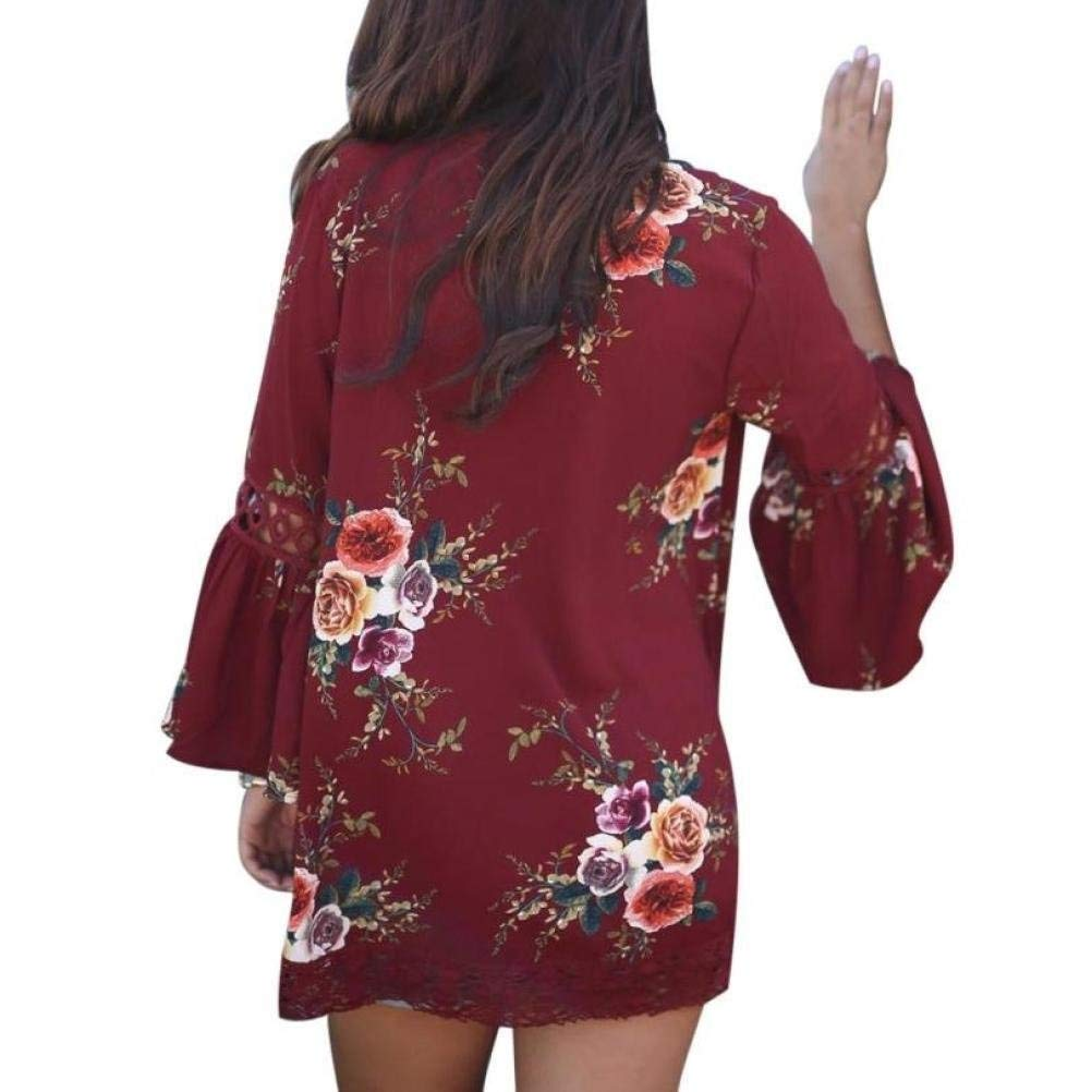 Go-First Ladies Beach Skirt Summer Lightweight Soft Bohemian Hollow Outerwear Dress Vintage Summer Chiffon Shawl Elegant Comfortable Dress with Floral Pattern (Color : Rosso, Size : L) by Go-first Women Swimwear Cover Ups (Image #2)