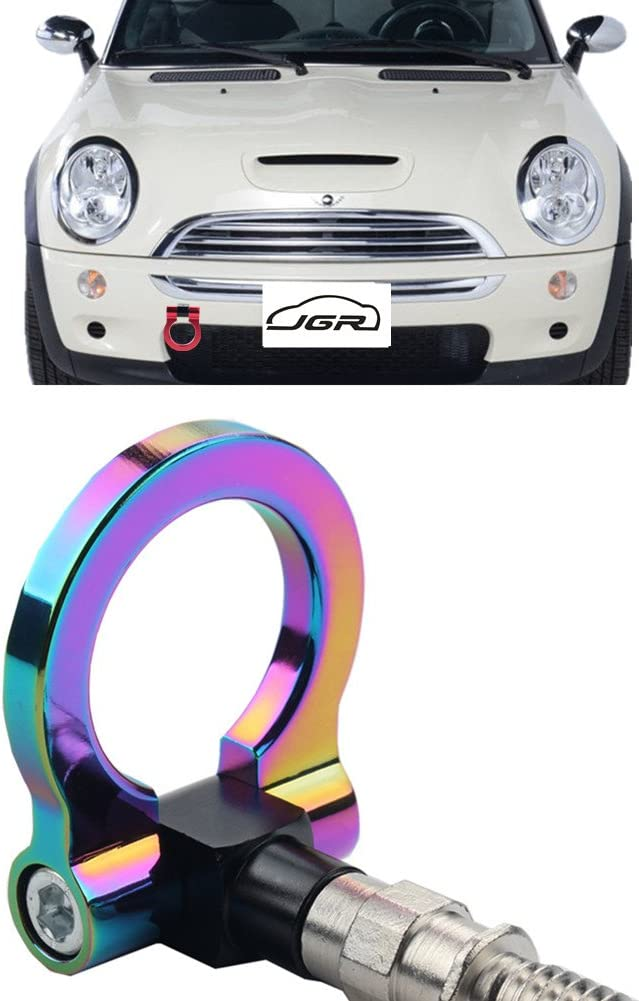 JGR Neo Chrome Front Bumper Tow Hook Bolt on Aluminum Sport Racing Accessories Tow Eye Hook Hinge for Mini Cooper R50 R51 R52 R53 R55 R56 R57 R58 R59 1st Gen & 2ed Gen