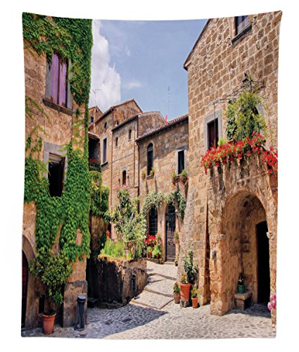 Lunarable Tuscany Tapestry Twin Size, Italian Streets in Countryside with Traditional Brick Houses Old Tuscan Prints, Wall Hanging Bedspread Bed Cover Wall Decor, 68 W X 88 L inches, Multicolor