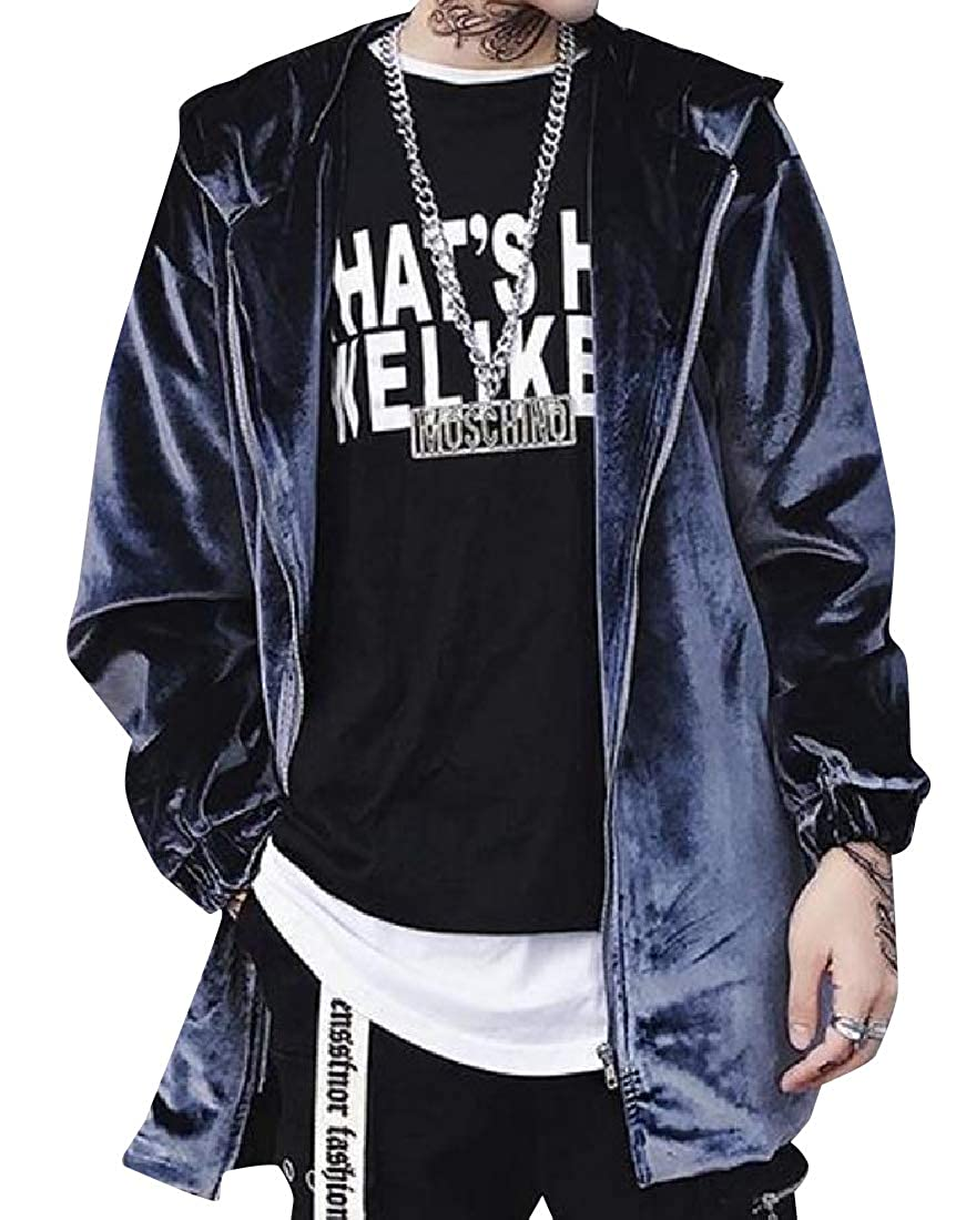 Coolred-Men Longline Pleuche Thickening Windbreaker Duster Coat