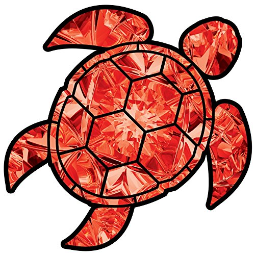 (Garnet Sea Turtle Birthstone Decal January Print Sticker Vinyl Rear Window Car Truck Laptop Gem Travel Mug Water and Fade Resistant 4 Inches)