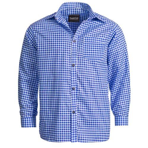 Trachtenhemd für Trachten Lederhosen Freizeit Hemd blau-kariert XXXL