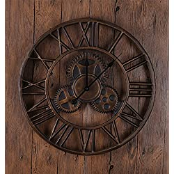 ZHENAI Metal Wall Clocks Retro Bedroom Living Room Creative Clocks Pastoral Simple Clock Office