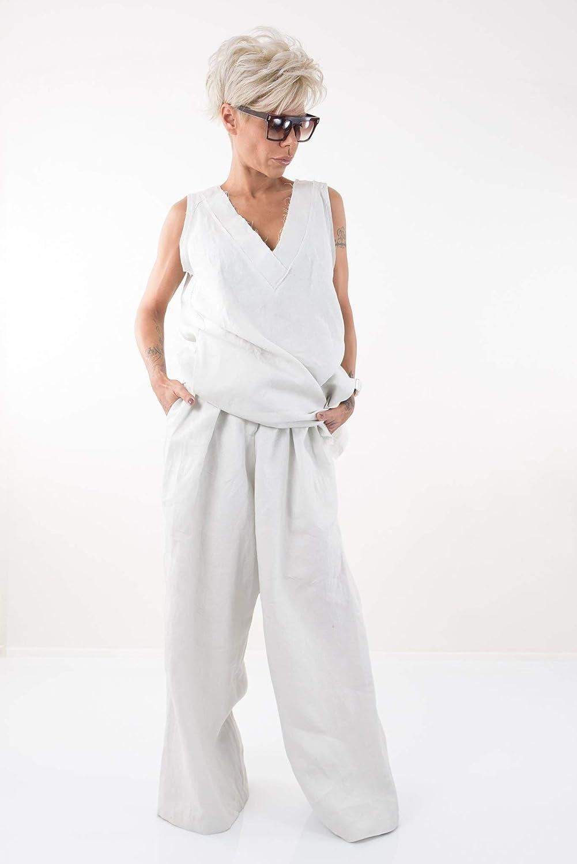 LOCKERROOM Women Harem Linen Summer High Waisted Palazzo Pants