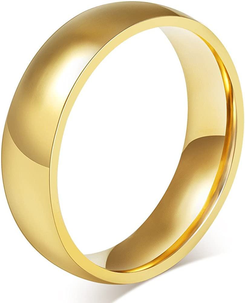 JAJAFOOK 6mm 4mm Gold Plated-Tone Domed High Polished Plain Tungsten Wedding Band Engagement Promise Ring,Men 11