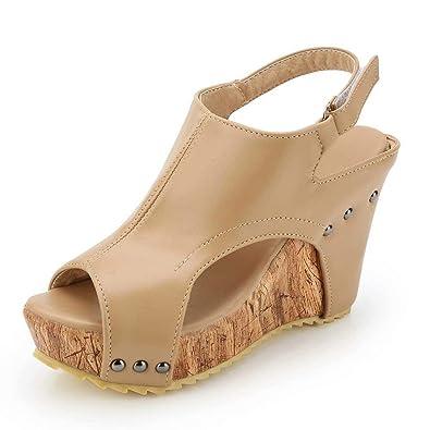e51fa38a12ab36 Sandales Compens饳 Femme Plateforme Cuir Bout Ouvert Bohꭥ  Romaines Espadrilles