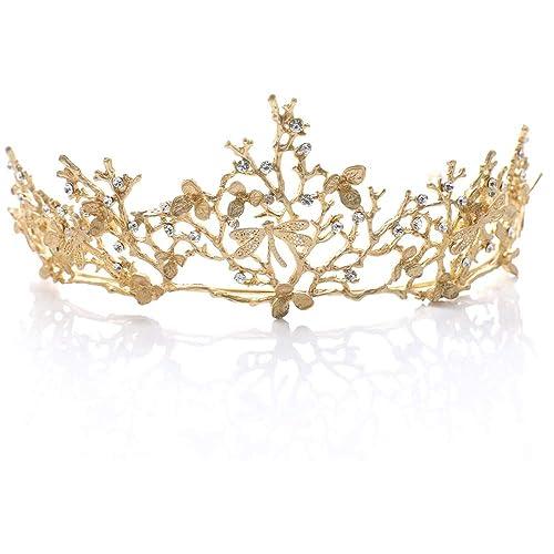 CAILI Corona,Tiara de Novia para Corona,Cumpleaños Boda Novia Corona,Crown Elegant Vintage Tiara,Accesorios de Vestido de Novia, Novia (Dorado)