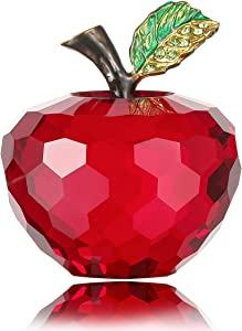 Vie jeune Crystal Apple Figurine Paperweight, Handmade Statue Ornament Home Decoration, Collectible Crystal Crafts, Come with Gift Box, Great Gift for Birthday Holidays Christmas (Red-60mm)