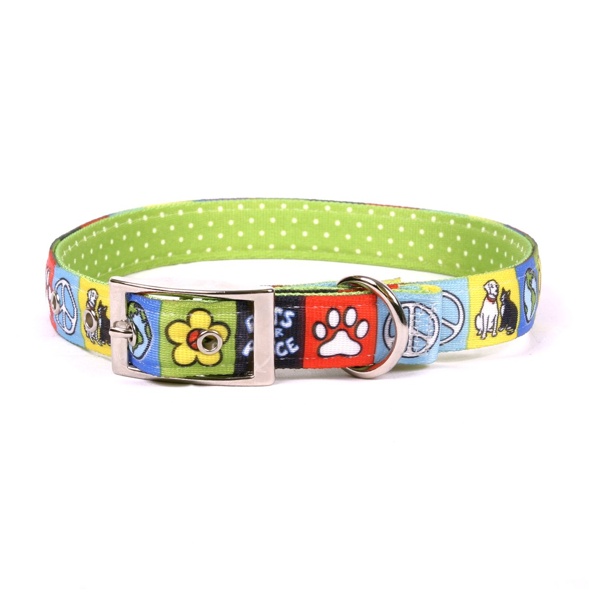 Yellow Dog Design Pets for Peace Uptown Dog Collar, X-Large-1'' Wide and fits Neck Sizes 24 to 27'' by Yellow Dog Design
