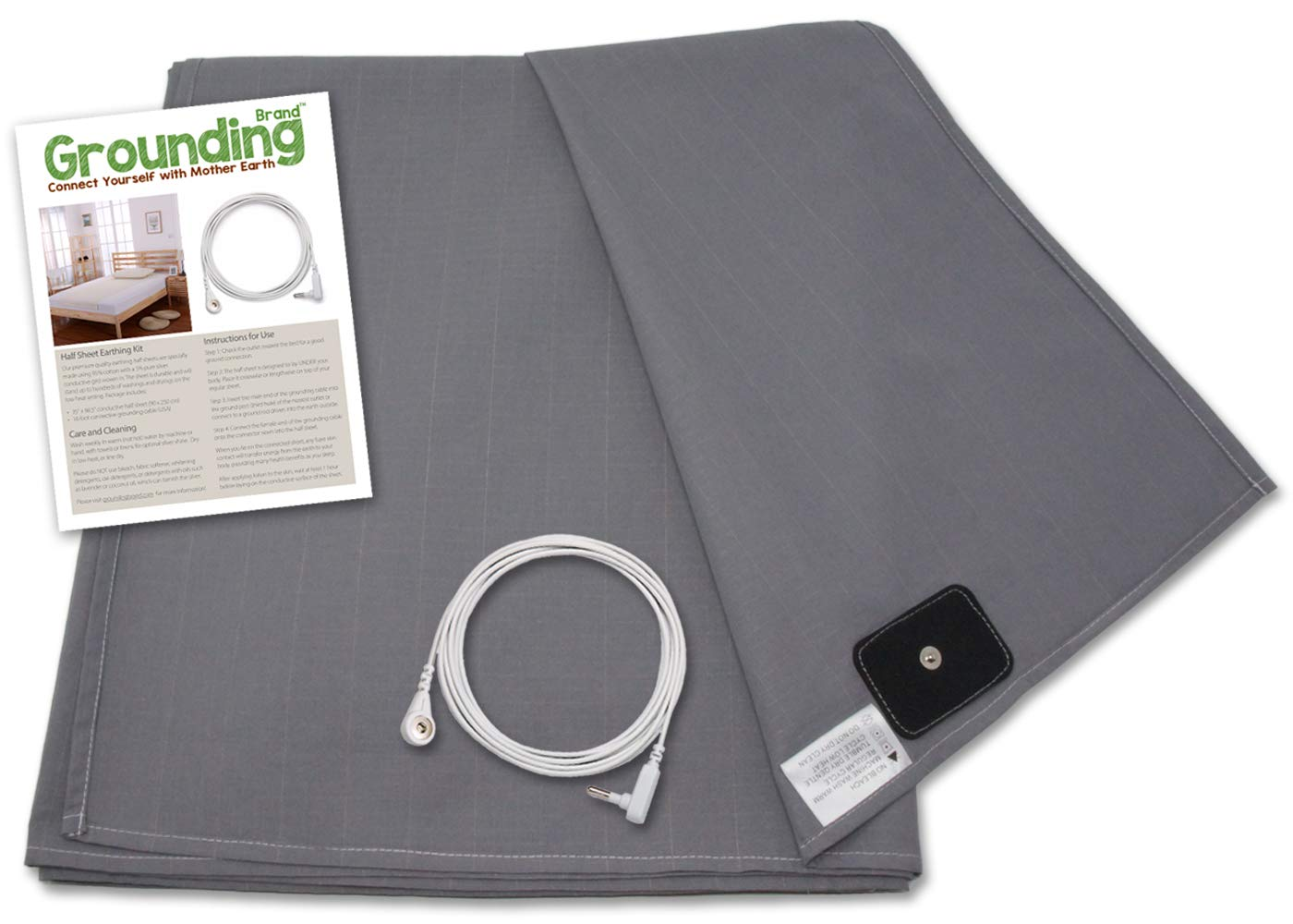 Grounding Brand Flat Twin Size Sheet with Earth Connection Cable, 400TC Conductive Mat with Pure Silver Thread for Better Sleep and Healthy Earth Energy, Rich Grey by Grounding Brand