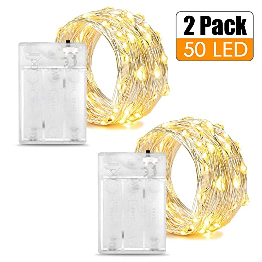 50 100 LED Micro Rice Wire Copper Fairy String Lights Battery Party Xmas Party