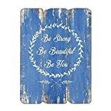 """MODE HOME 11.81""""X15.75"""" Wooden Decorative Wall Sign Wall Hanging Sign (BE STRONG)"""