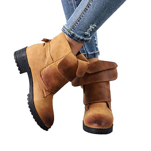 Tacón Bajo Botas de Punta Redonda para Mujeres Retro Otoño Invierno Casual Zapatos con Hebilla Mujer Cómodo Talón Bloquear Botines Zapatos Tamaños 34-43: ...