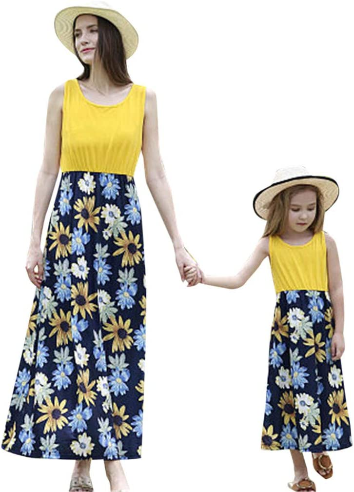 Mother Daughter Summer Floral Dress Mom Girls Family Matching Clothes Outfits