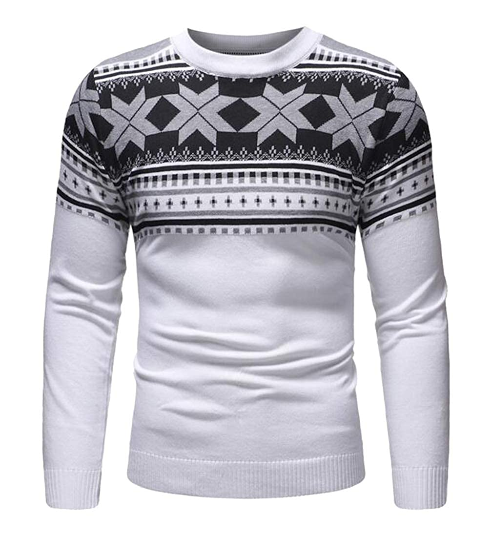 Fubotevic Mens Long Sleeve Printed Slim Knit Crew Neck Casual Pullover Sweater