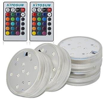 4pcs sumergible luces LED con mando a distancia resistente al agua LED Accent luz redonda de ...
