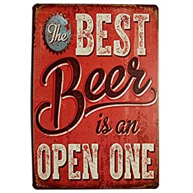 ERLOOD Best Beer Vintage Funny Home Decor Tin Sign Retro Metal Bar Pub Poster 8 x 12
