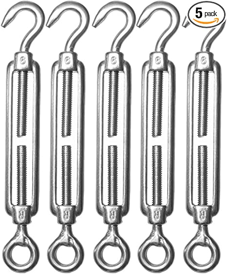 Fits 1//8 to 5//16 Diameter Rope Rustproof Zinc Plated Clothesline Tightener to Prevent Sagging Lines