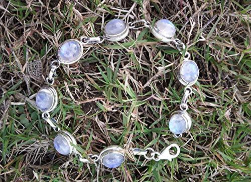 Rainbow Moonstone Bracelet, 925 Sterling Silver, Tennis Bracelet, Victorian Jewelry, Romantic Statement Bracelet, Bohemian Tribal Bracelet, Southwestern Bracelet, Extraordinary Bracelet, Mermaid Gift