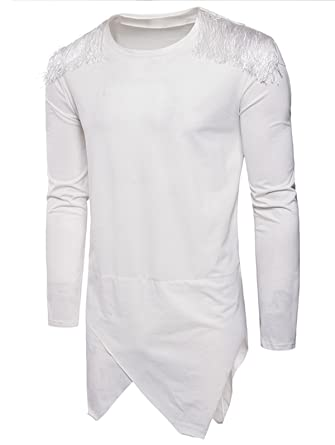 0a48b4b8b293c0 Image Unavailable. Image not available for. Color  EbuyChX Tassels Shoulder  Design Longline Asymmetric T-Shirt White 2XL