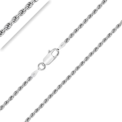 """Sterling Silver Rhodium-plated 1.5mm Diamond-cut Rope Chain Necklace 16/"""" 30/"""""""