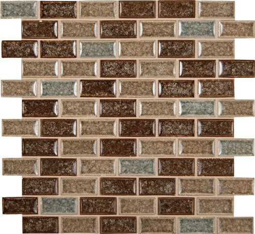 MS International Fossil Canyon 12 in. x 12 in. Crackled Glass Blend Mesh-Mounted Mosaic Tile - BOX OF 5 TILES