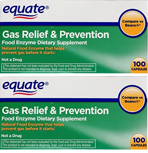 Enzyme Food Supplement - 2 Pack of Equate Gas Relief & Prevention Food Enzyme Dietary Supplement ,200ct, Compare to Beano