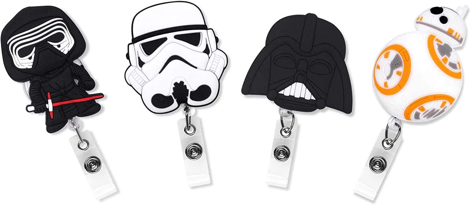 Finex 4 Pcs Set Star Wars BB8 Darth Vader Kylo Ren Stormtrooper Badge ID Clip Reel Retractable Holder Office Work Nurse Name Badge Tag Clip On Card Holders Cute - 30 inch Cord Extension