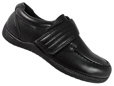 New Boys Black Leather Look Slip On Soft Close School Shoes 10-2 uk