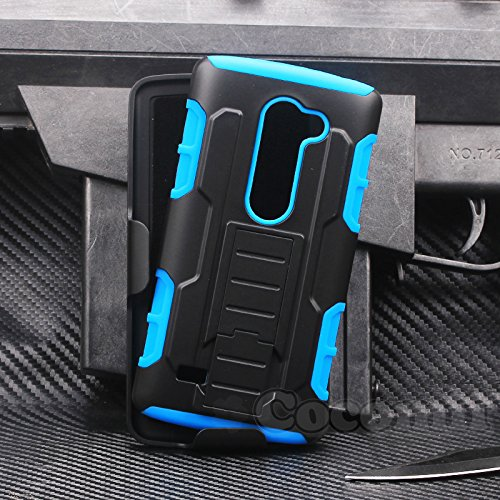 Cocomii Robot Belt Clip Holster LG Leon/C40/Sunset/Tribute 2/Destiny/Risio/Tribute Duo/Power Case, Slim Thin Matte Kickstand Swivel Belt Clip Holster Protection Bumper Cover for LG Leon/C40 ((Blue)