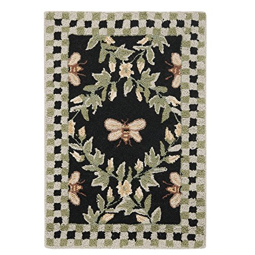 "Safavieh Chelsea Collection HK55B Hand-Hooked Black Premium Wool Area Rug (1'8"" x 2'6"")"