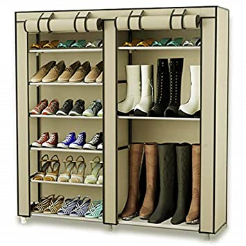 f0c838a2d49 TXT&BAZ 27-Pairs Portable Boot Rack Double Row Shoe Rack Covered Nonwoven  Fabric(7-Tiers Beige)
