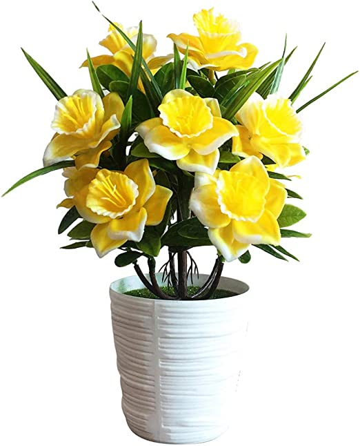 Blagenertj 1pc Fake Potted Plant Artificial Plastic Daffodil Flower Stage Garden Wedding Home Party Decoration Props Yellow Kitchen Dining