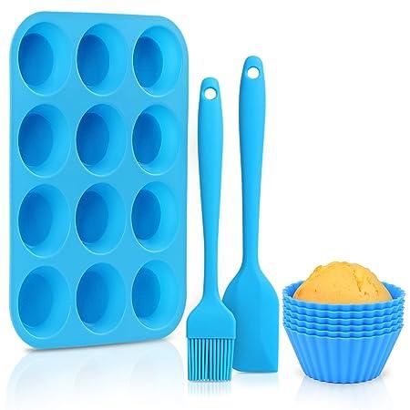 EKKONG Bandeja para Muffins Cupcakes de Silicona Bono de Molde, Molde Antiadherente para Hornear, Horno de microondas Seguro - Azul