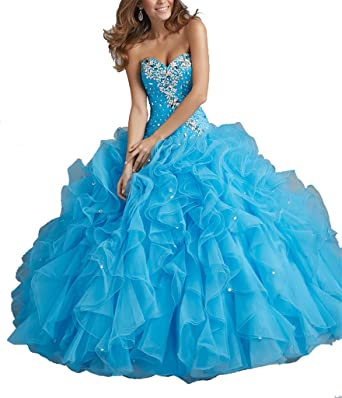 bc246c9763 Yonggao Women s Sweetheart Ruffles Beaded Ball Gown Prom Gowns Quinceanera  Dresses 0 US Turquoise