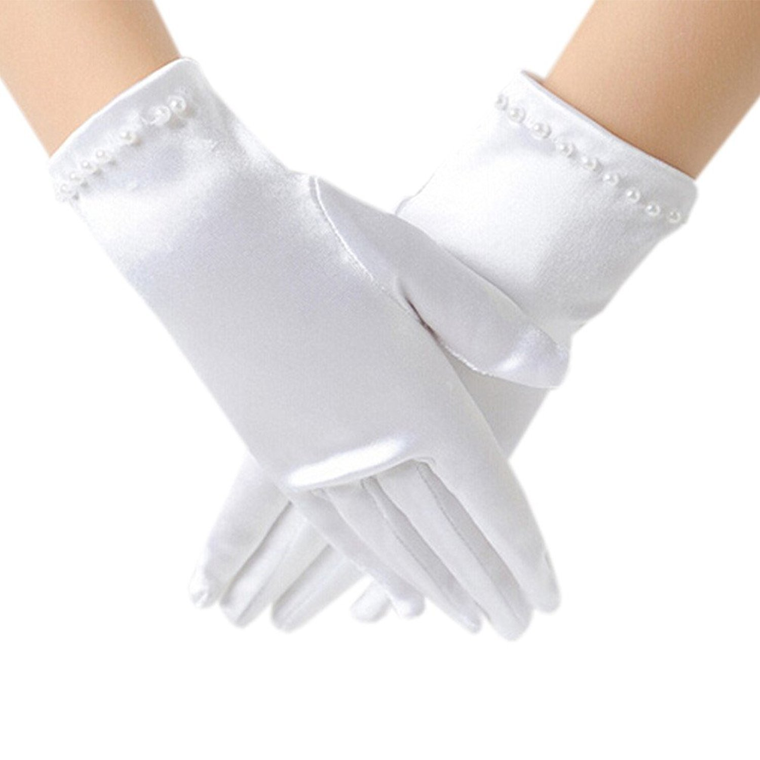 Jxsfly Flower Girls Short Gloves Lace Bowknot Gloves for Wedding Special Occasion