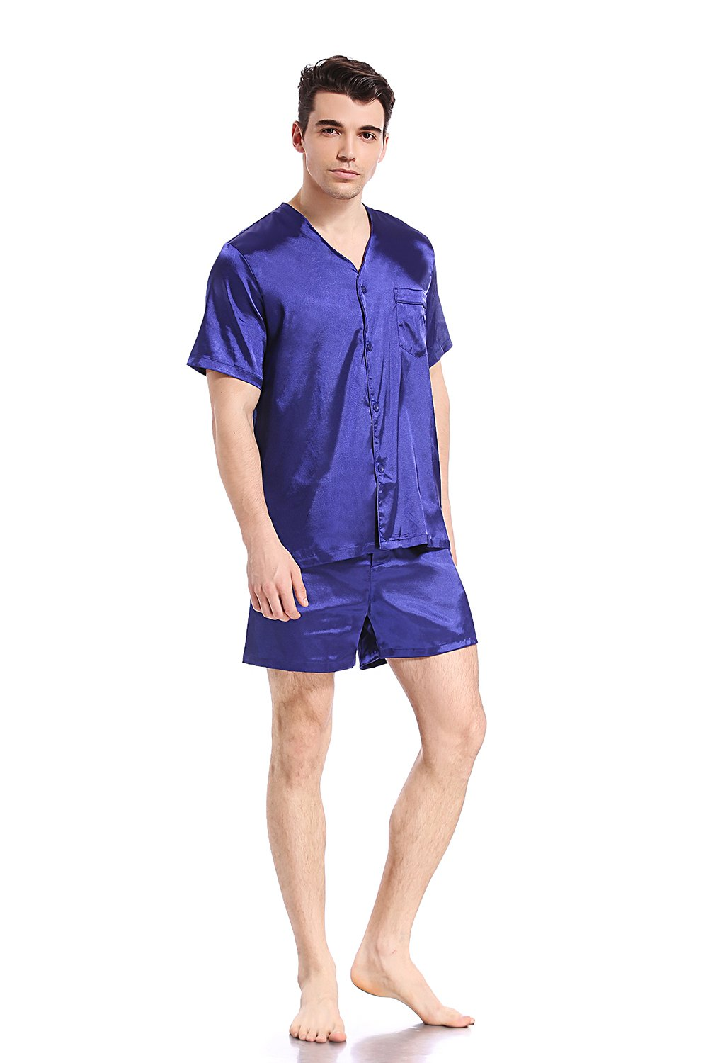 Like2sea Summer Silky Satin Pajamas for Men, Short V-Neck Button Down PJ Set with Mask, Blue, XL by Like2sea (Image #2)