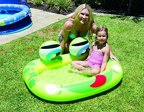 AIRTIME Kids Inflatable Paddling Pool Frog W/Bell Eyes Lake Float and River Float to any raft type 50.3