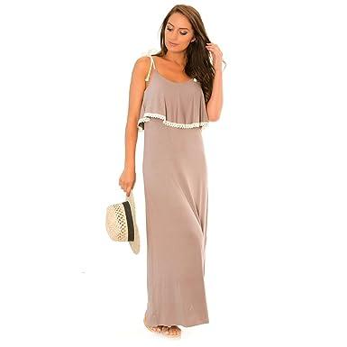 1a2b5f68468 Miss Wear Line - Robe Longue Taupe avec Bretelles en Cordes  Amazon ...