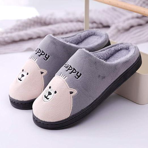 Zapatillas de algodón para el hogar pareja masculina interior y exterior zapatos de algodón cálido para el hogar ...