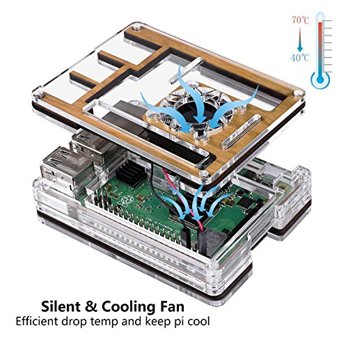 Smraza Wood Case for Raspberry Pi 3 2 Model b with Fan, 2.5A Power Supply, 59'' USB Cable w/On Off Switch Compatible with Raspberry pi 3B 2b(Not Work with Pi 3B+) by Smraza (Image #1)