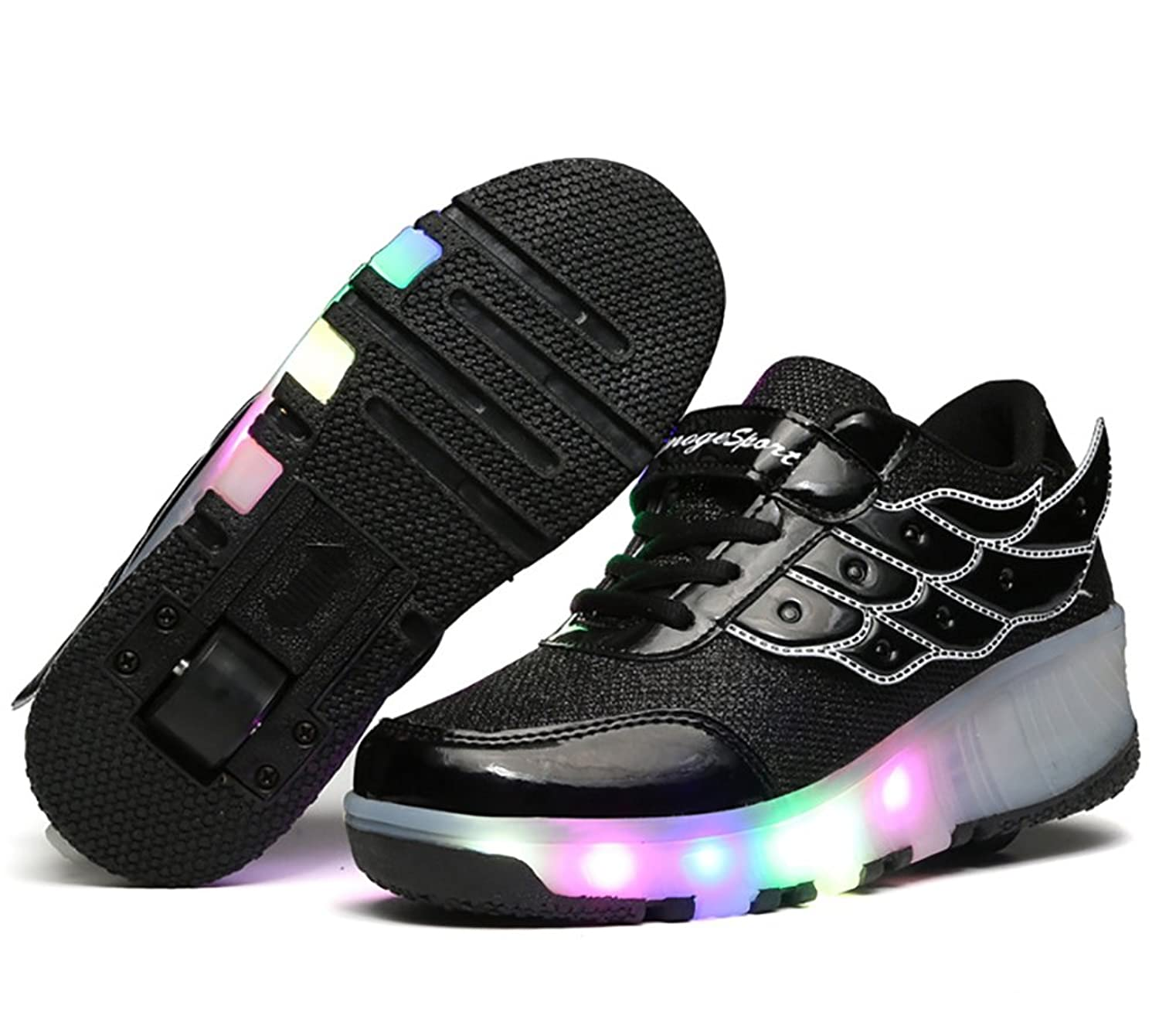 Boy And Girl LED Light Up Single Roller Skate Shoes With Angel Wings Mesh Surface LED Shoes