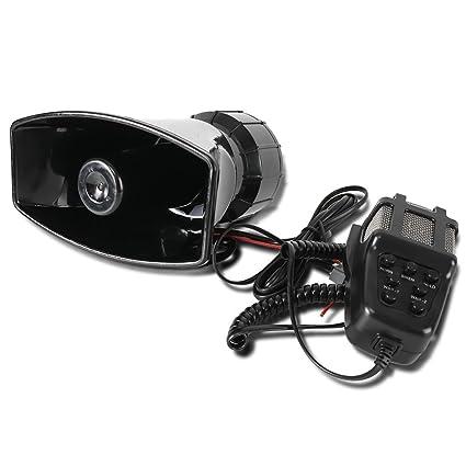 KT SUPPLY Bocinas de sirena altavoz, 12V 80W 7 Tono sirena sonido coche con micrófono sistema de altavoces amplificador de sonido de emergencia: Amazon.es: ...