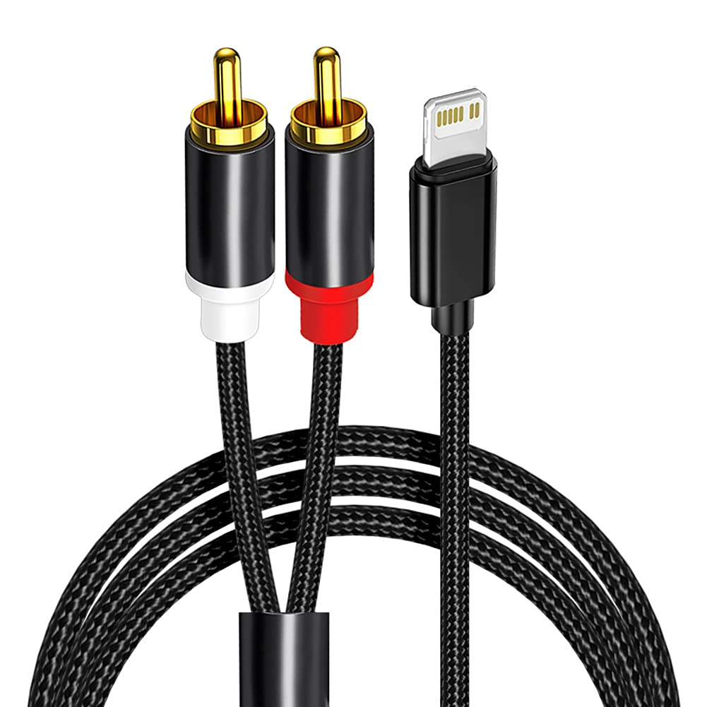 2-Male RCA Audio Stereo Y Cable Compatible with iPhone/iPad/iPod,for Car,Power Amplifier, Speaker and More(4ft)